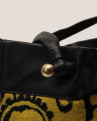 ALIMA-Nina-tote-bag-black-leather-and-vintage-fabric-iron-detail