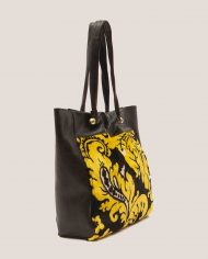 ALIMA-Nina-tote-bag-black-leather-and-vintage-fabric-side