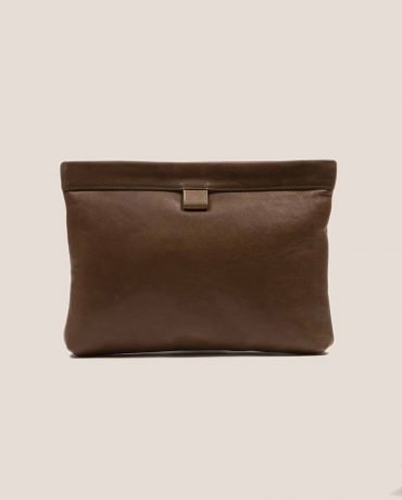 Petty Things brown leather Clutch handbag, model Marlen Toupe