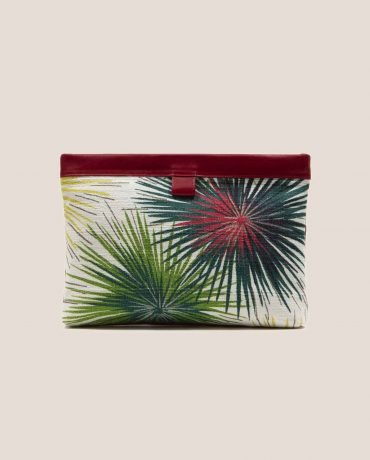 Clutch de Petty Things color rojo con tela vintage barkcloth Fireworks, Marlen Fireworks