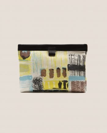 Petty Things clutch black color with vintage fabric barkcloth Lane, Marlen Lane