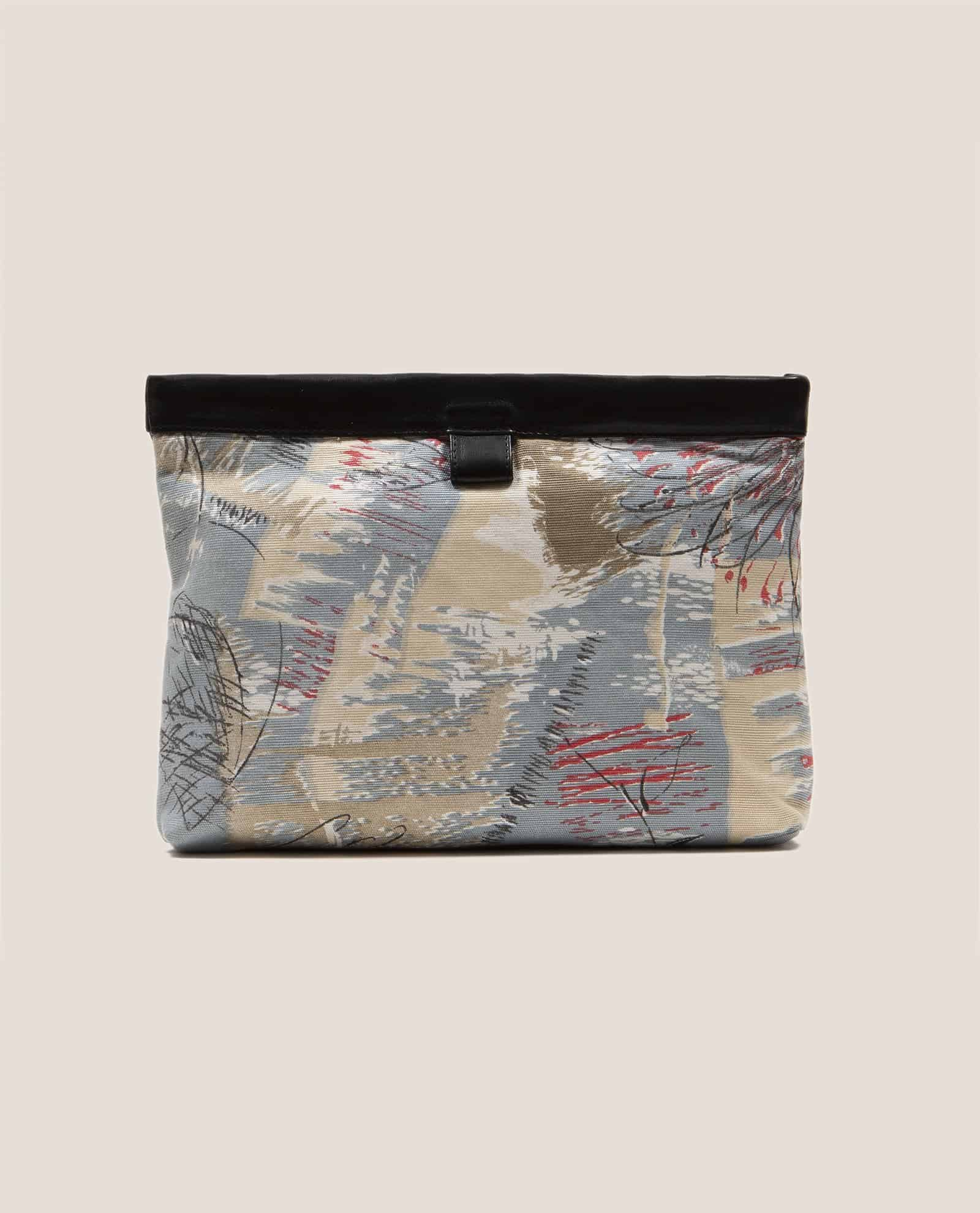 Clutch de Petty Things color negro con tela vintage barkcloth Lex, Marlen Lex