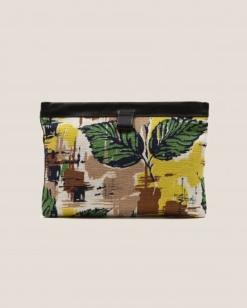 Petty Things Clutch black color with vintage fabric barkcloth Peter, Marlen Peter
