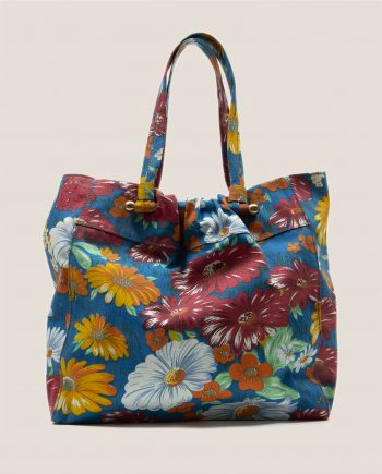 Tote Bag with big flowers pattern on blue background, lovely for summer beach bag