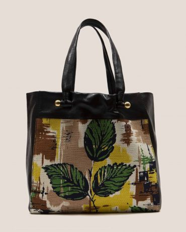 Tote bag made in black vegetable-dyed leather and vintage fabric barkcloth Peter by Petty Things